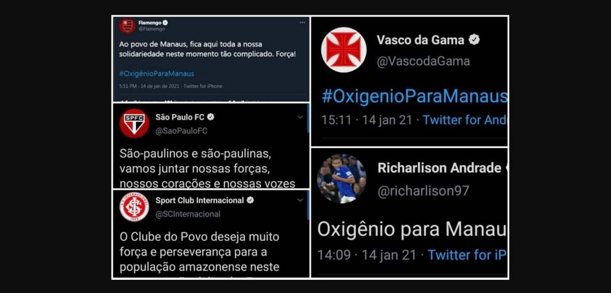 Clubes e jogadores demostraram solidariedade a Manaus pelas redes sociais