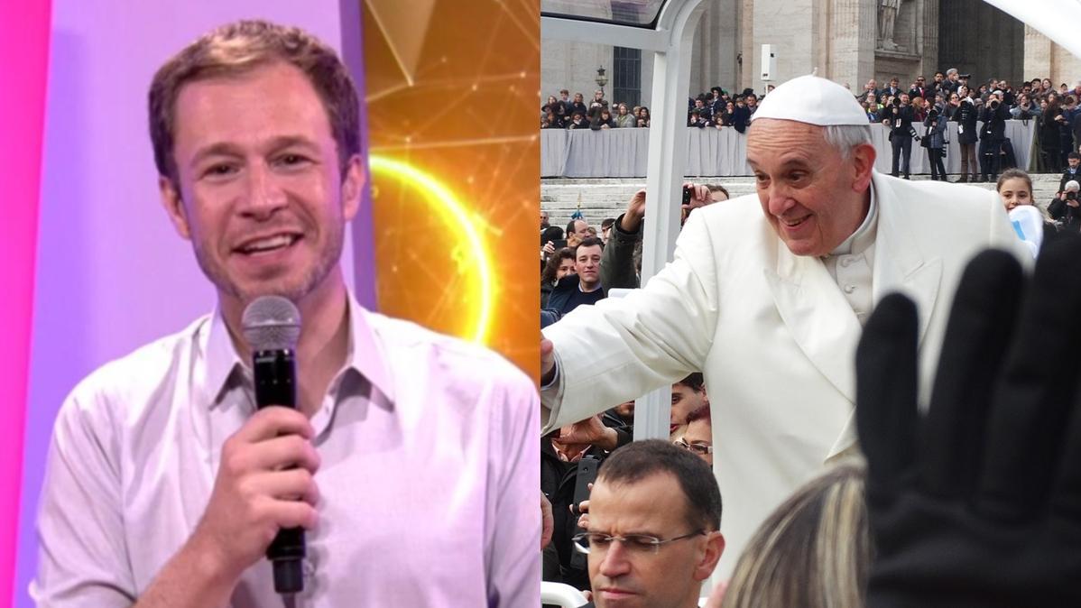 Na imagem o apresentador do BBB Tiago Leifert e Papa Francisco