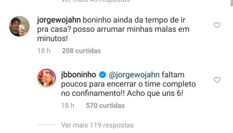 BBB 21 - Resposta de Boninho no Instagram