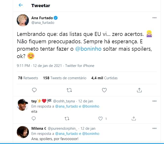 Ana Furtado tweetou sobre o BBB 21
