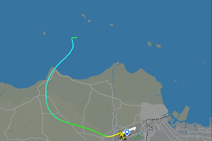 A rota do voo do avião da Sriwijaya Air após sua decolagem de Jacarta, na Indonésia