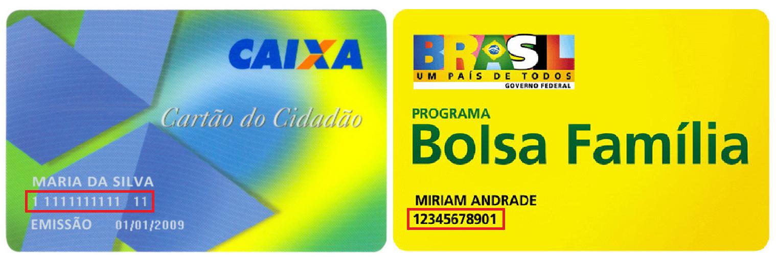 Imagem mostra ao lado direito o Cartão Cidadão e, ao lado esquerdo, o cartão do Bolsa Família. Número do NIS se encontra abaixo do nome, no canto inferior esquerdo do cartão.