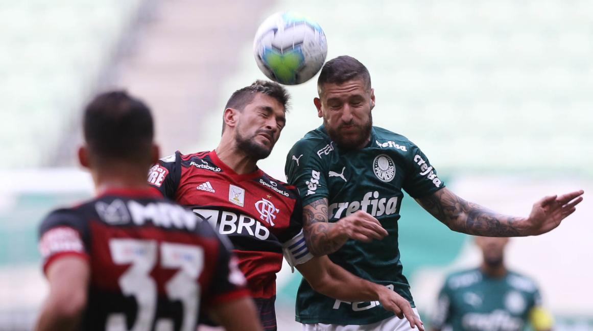 No primeiro turno, Palmeiras e Flamengo empataram em 1 a 1, em São Paulo