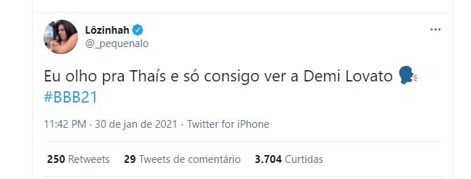 Tweet sobre Thaís do BBB21