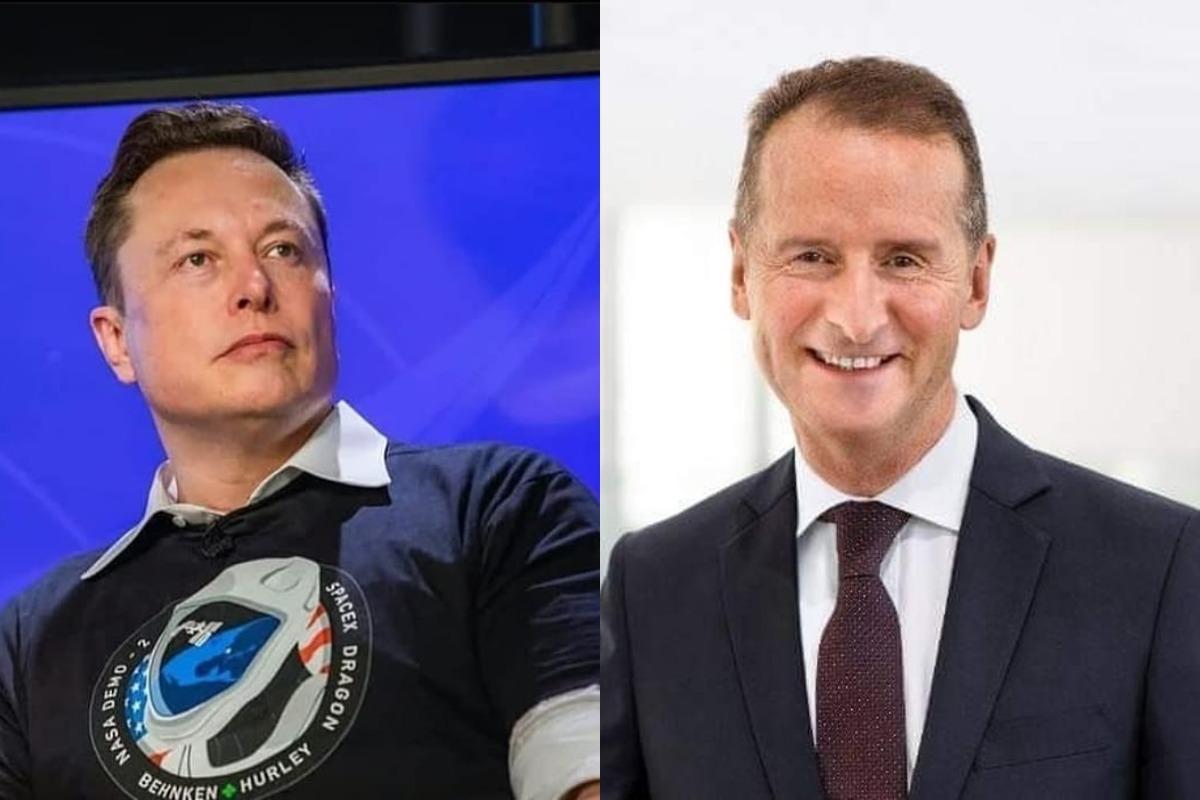 Imagem mostra Elon Musk à esquerda e Hebert Diess à direita