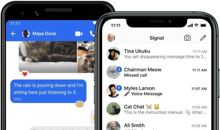 tela do Signal, app de conversas