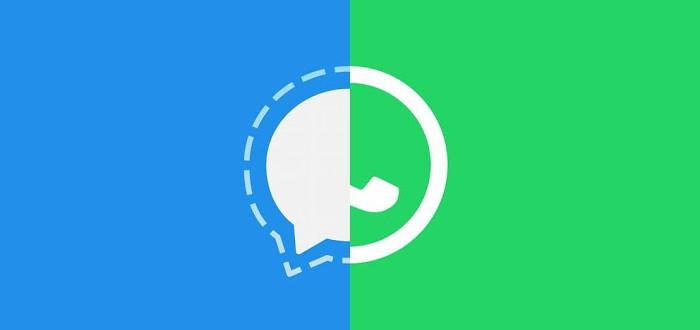 Signal vs. Whatsapp, logotipos lado a lado