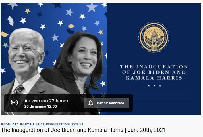 Imagem da posse presencial do Joe Biden e Kamala Harris