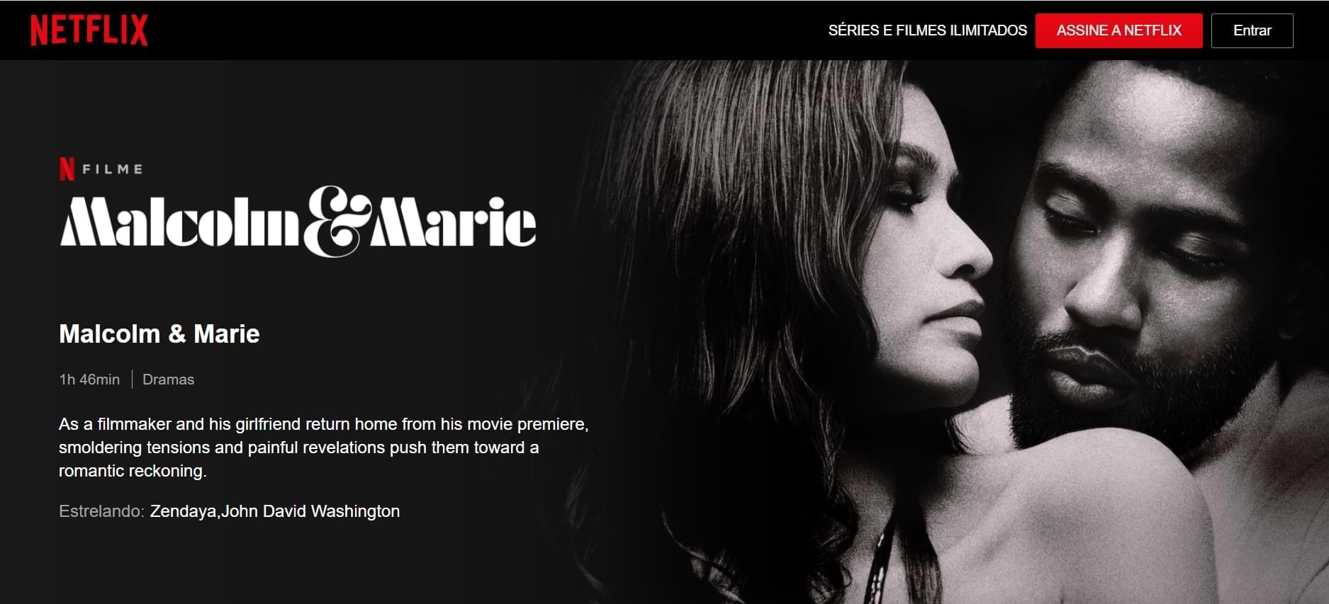 Imagem da página do filme na Netflix