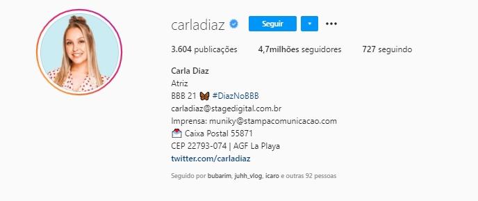 Na imagem Carla Diaz Instagram