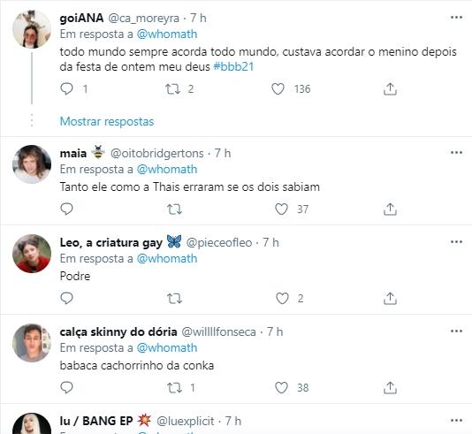 imagem mostra Comentários no Twitter sobre Projota do BBB21