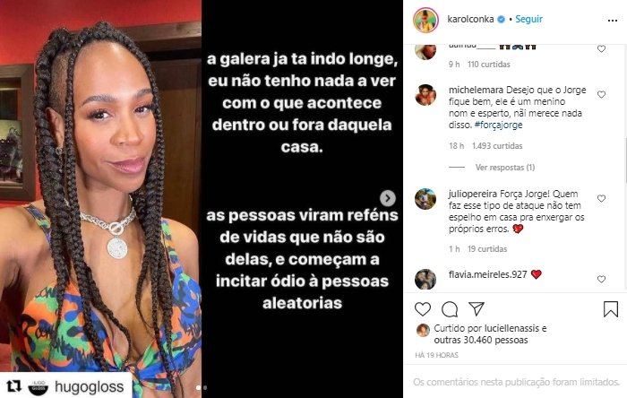 Imagem mostra Desabafo e apoio de internautas ao filho de Karol Conka do BBB21