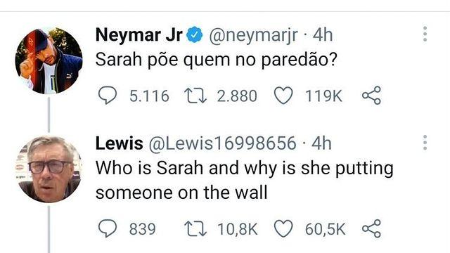 Na imagem gringo reage a post de Neymar