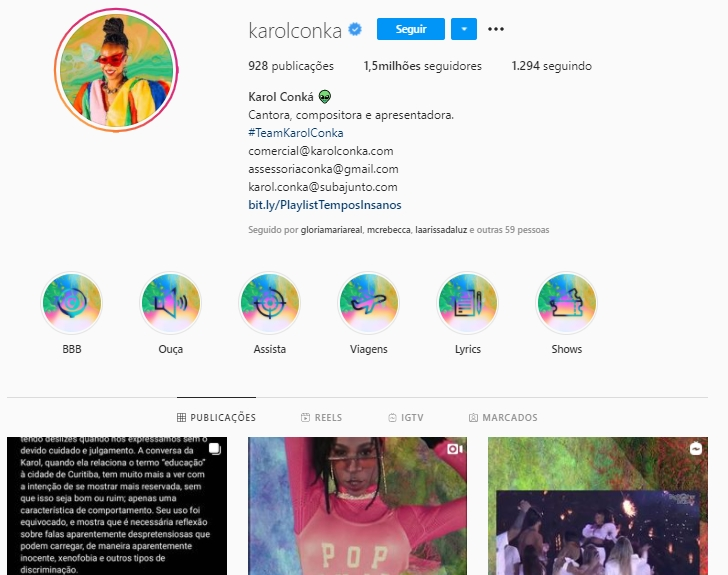 Imagem mostra Instagram de Karol Conka