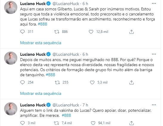 Imagem mostra Luciano Huck apoia Lucas do BBB21