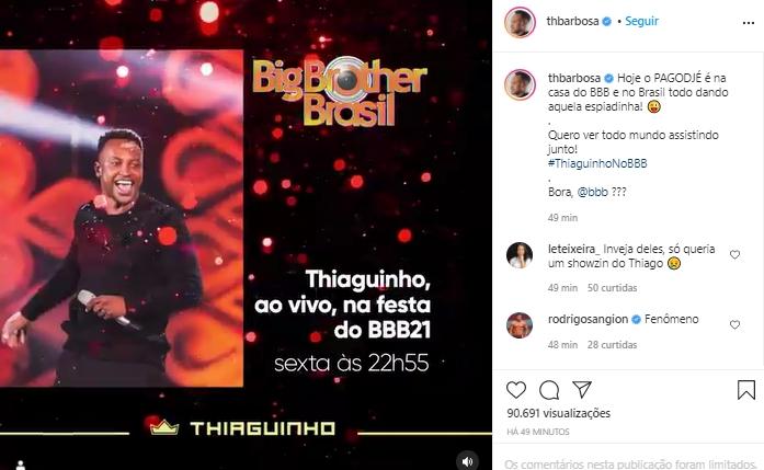 Imagem mostra Thiaguinho que vai cantar no BBB21