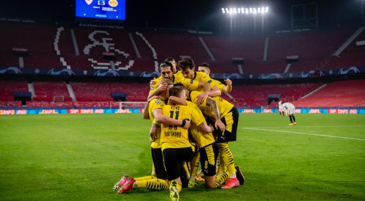 Borussia vira diante do Sevilla, com dois gols de Haaland, e leva vantagem do empate para jogo da volta