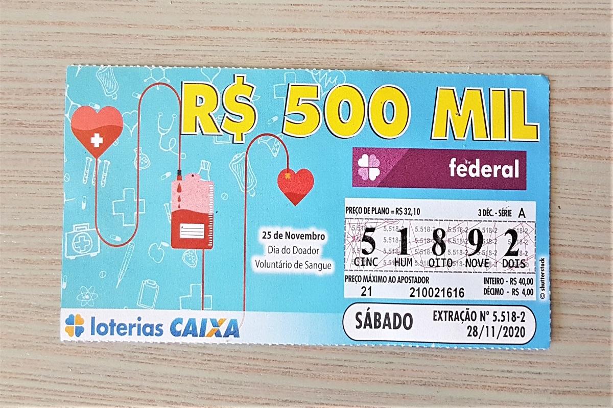 A imagem mostra um bilhete da loteria Federal