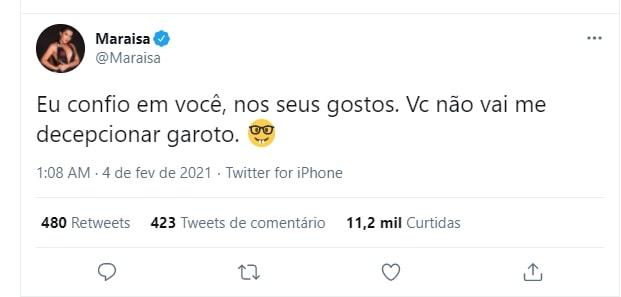Tweet de Maraísa sobre Arcrebiano