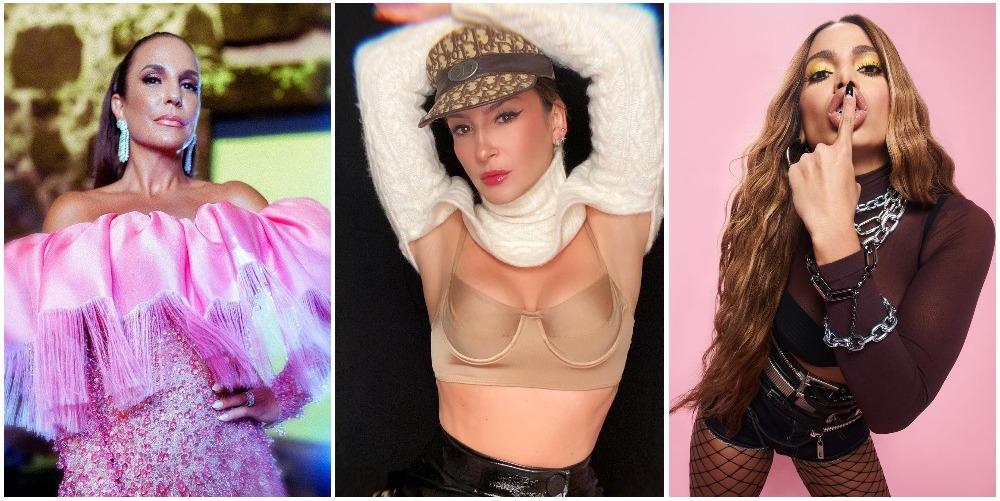 Imagem mostra as cantoras, por ordem, Ivete Sangalo, Claudia Leitte e Anitta, que vão fazer lives carnaval 2021