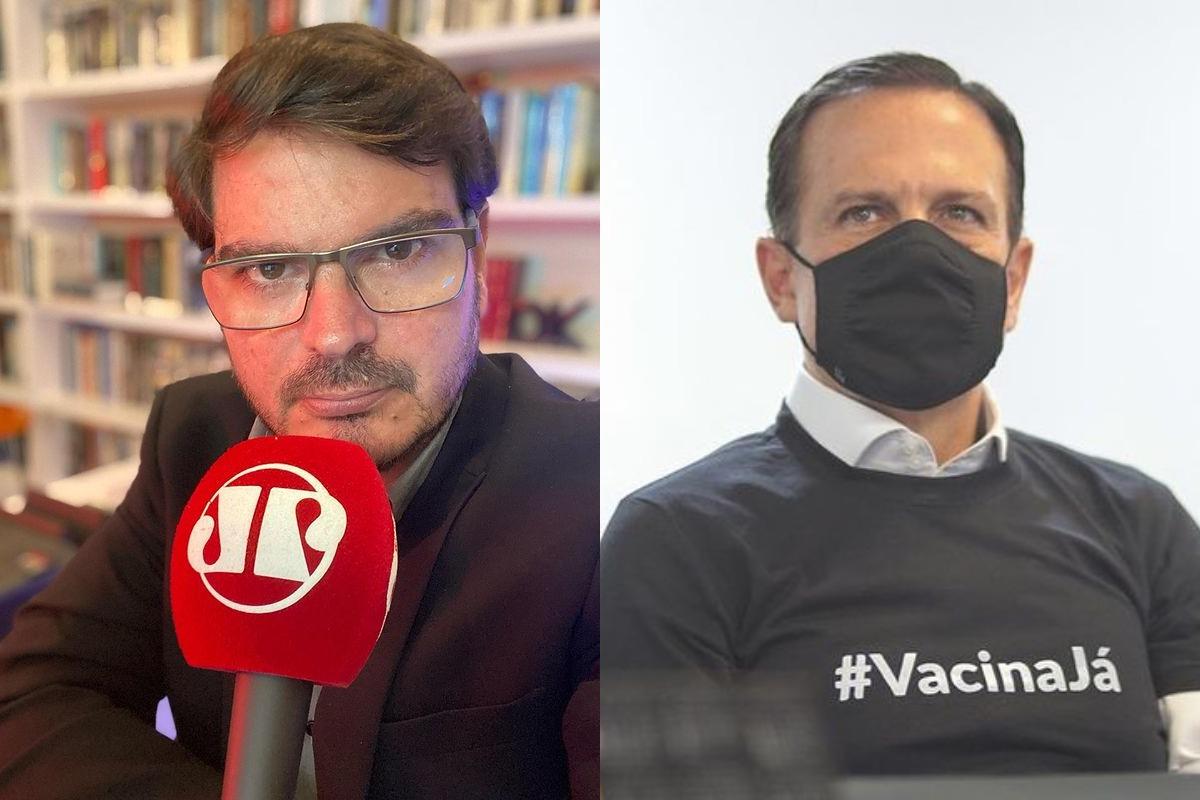 Imagem mostra o jornalista Rodrigo Constantino (esquerda) e João Doria (direita)