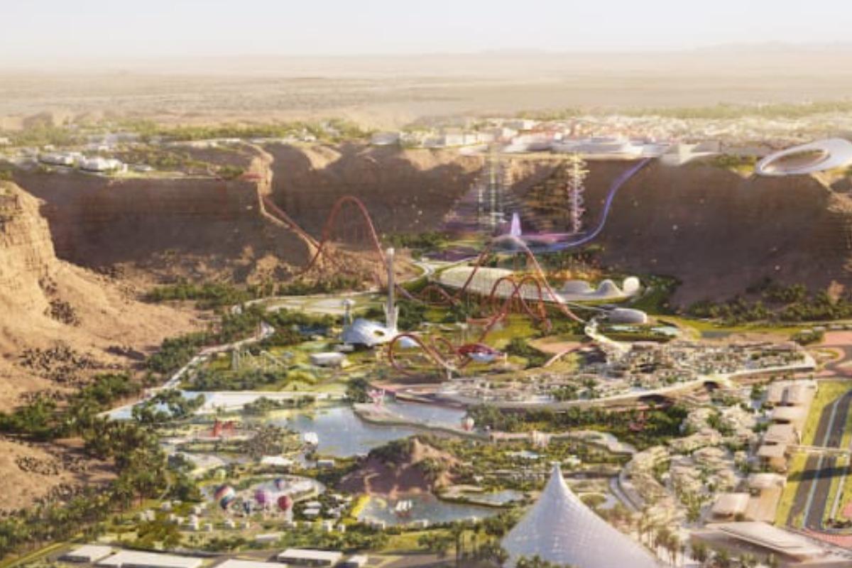 Imagem mostra o parque Six Flags Qiddiya, que terá a montanha-russa mais rápida do mundo