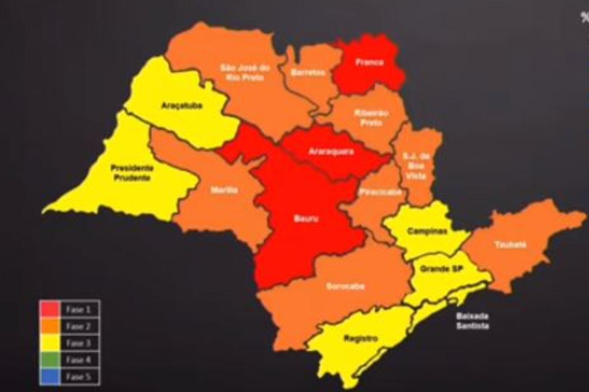 Imagem mostra mapa de SP e regiões do plano de contingência