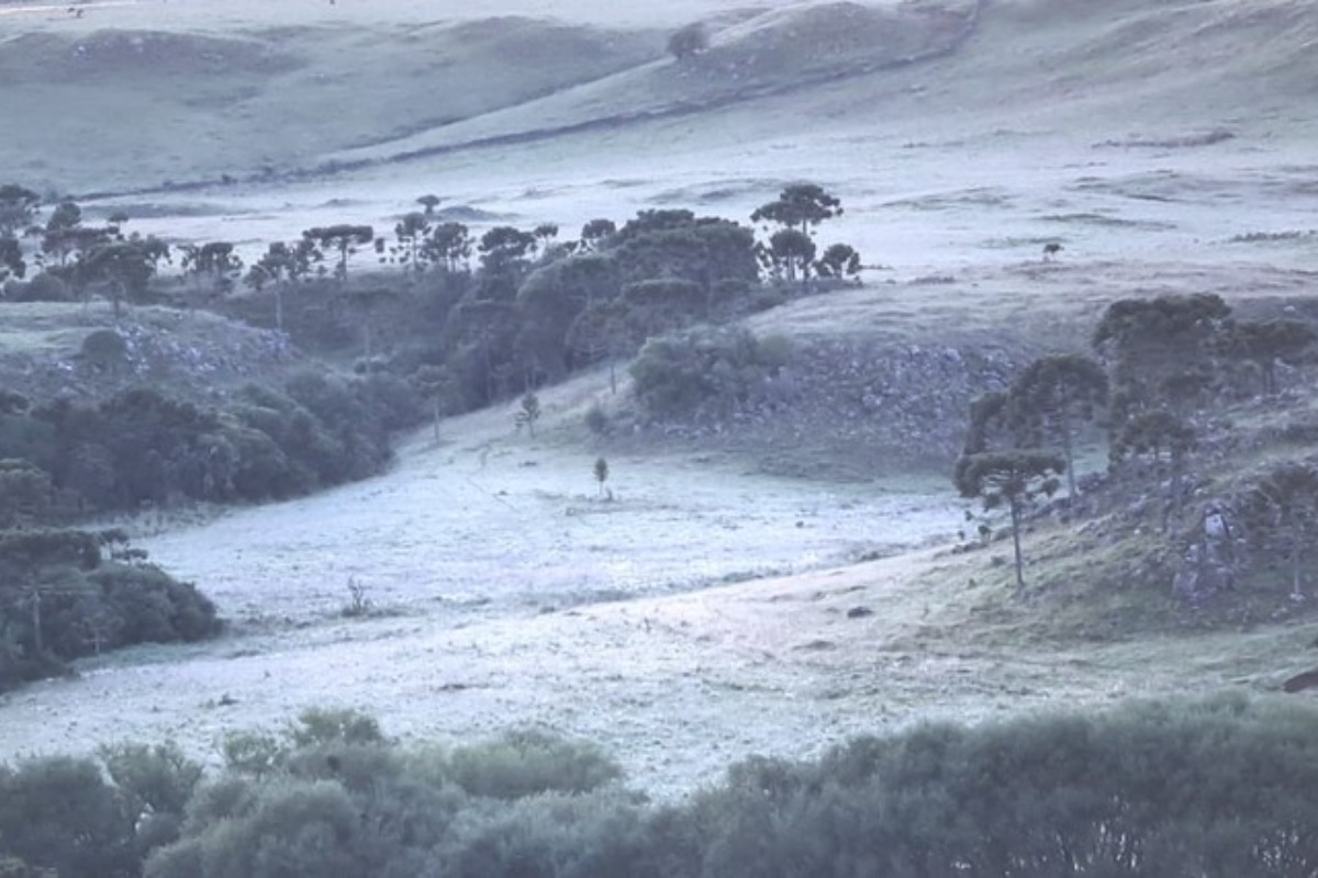 Imagem mostra serra catarinense coberta por neve