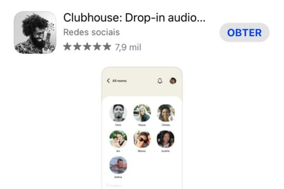 Imagem capturada da tela de celular do aplicativo Clubhouse, nova sensação do momento