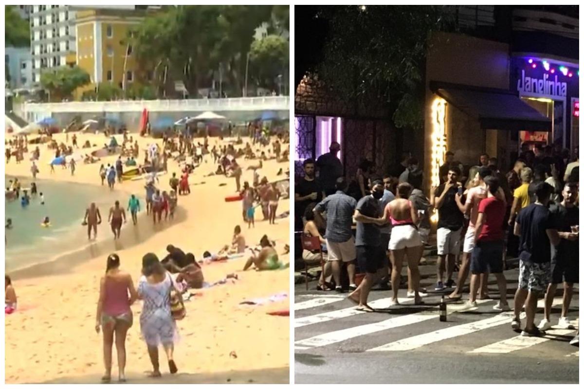Imagens mostram aglomerações de dia e noite em regiões do país durante feriado de carnaval
