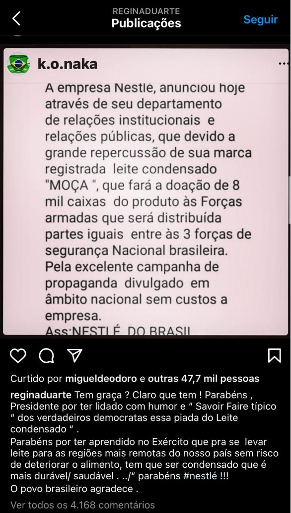 regina duarte fake news